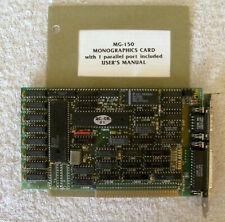 MG-150 Monochrome Graphics Video Card /w Manual ISA IBM PC/XT/AT/5150/5160/5170