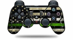 Skin for PS3 Controller Painted Faded Cracked Green Line USA American Flag CONT