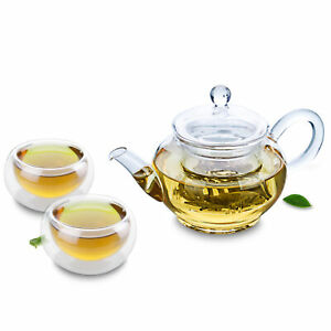 Cute Glass Tea Set- Mini Teapot & 2PC Round Double Wall Teacups Coffee Mug