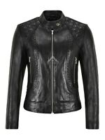 Womens Real Leather Jacket Black Slim Fit Quilted Fashion Lambskin Jacket 1722