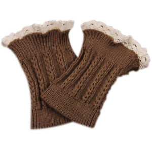Knee High Lace Button Trim Leg Warmers Long Crochet Knit Boot Cuffs Topper LP