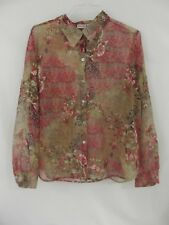 LIZ BAKER * Womens Button Front Long Sleeve Sheer Floral Blouse * 18