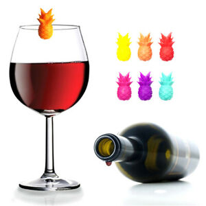 6PCS Silicone Wine Glass Marker pineapple Design Drink Charms Label Mark ½*wf