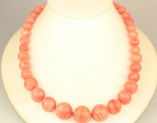 """CORAL COLOR BANDED AGATE GRADUATED BEAD 20"""" NECKLACE WITH 14K YELLOW GOLD CLASP"""