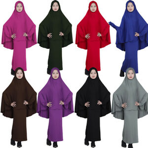 Muslim Kids Girls Abaya Burka Hijab Khimar Islamic Maxi Dress Prayer Robe