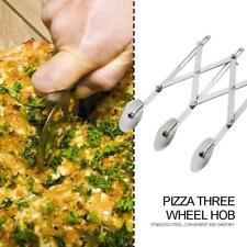Stainless Steel 3 Wheels Pizza Pastry Cutter Dough Divider Flexible Roller #JD