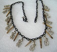 """Vintage early plastic wood metal """"good luck"""" charms art deco necklace"""