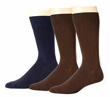 $44 Perry Ellis Men'S 3-Pair Pack Brown Blue Solid Crew Dress Socks Shoe 7-12