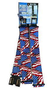 Vintage Patriotic American Flag Suspenders Red White Blue Plastic Made In USA