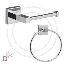 Chrome Square Bathroom Toilet Tissue Roll Holder & Towel Ring Set S653