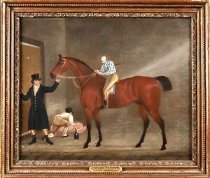 CLIFTON TOMSON (1775-1828) SIGNED 1826 OIL CANVAS - RACE HORSE JOCKEY IN STABLE