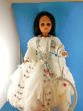 Indian Princess Doll in Crocheted Wedding Dress Moccasins Necklace & Dream Catch