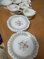 Set of 14 French Saxon China 22k gold 6 Tea Cups And 8 Saucer