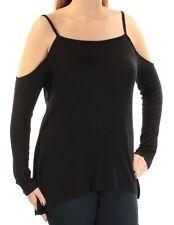 KENSIE Womens Black Cut Out  Off Shoulder Long Sleeve Top L