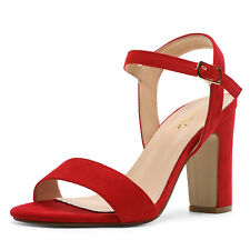 Women's Open Toe Ankle Strap Buckle High Chunky Heel Sandals Pump Shoes
