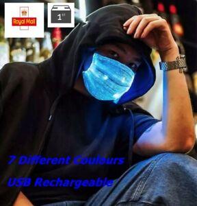 LED Face Cover Face Mask LED Facemask Light Up Protection Led Light UK Seller