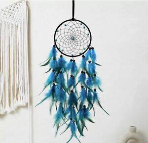 Attrape Rêve Plumes Dream-Catcher Bleu et Vert Décoration - Bijoux des Lys