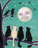 8X10 PRINT OF PAINTING RYTA TUXEDO BLACK CAT FOLK ART ABSTRACT CROW HALLOWEEN