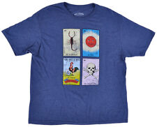 Loteria Tee Shirt Card Game Navy Mens Top Bingo El Sol Gallo Authentic XL