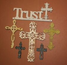 (6) Garden Cottage Design Trust In The Lord Cast Iron Wall Plaque w/ Crosses