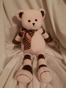 "Bearington Baby Collection Pink brown  Teddy Bear polka dot Plush 16"""
