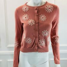 HWR Monogram M Cardigan Sweater Pink Floral Embroidered Cotton Button Up