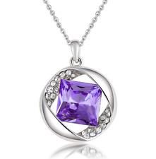 Fashion Womens Purple Diamond Crystal Rhinestone Silver Chain Pendant Necklace
