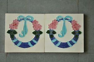 2 Pc Vintage Flower Garland T.S Mark Ceramic Tiles,Japan