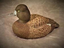 Original wood carving of a hen Lesser Scaup duck