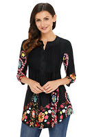 Women Black Floral Print V Neck Button Front 3/4 Long Sleeve Top Tunic Shirt