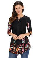 Women Black Floral Print V Neck Button Front 3/4 Long Sleeve Top Tunic Shirt