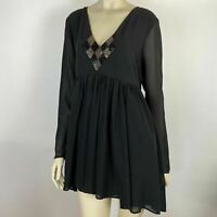 Bettina Liano Womens Black Long Sleeve Sequin Knee Length Dress Size 14
