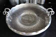 Extra Large Aluminum Tray with Glass Insert, Vintage Platter World Company # 514