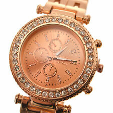 Womens Girls Crystal Analog Diamonte And Gold Quartz Wrist Watch Fashion Design