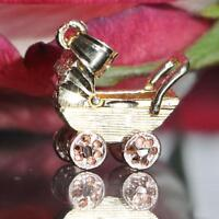 14k multi tone gold pendant movable baby carriage charm vintage handmade 1.5gr