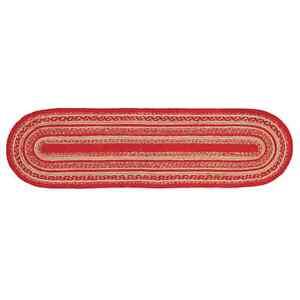 CUNNINGHAM JUTE BRAIDED TABLE RUNNER /STAIR TREAD 8.5X27 NATURAL / CHERRY RED