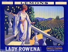 Fullerton Orange County Lady Rowena Lemon Citrus Fruit Crate Label Art Print