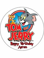 """Tom and Jerry Personalised 7.5"""" Round Edible Icing Cake Topper Design"""