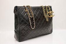Authentic Vintage CHANEL Leather Tote Large Black Chains CC Logo Charm Handbag
