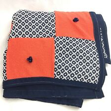 Vintage Double Knit Lap Baby Throw Blanket Handmade Granny Tied Mid Century Navy