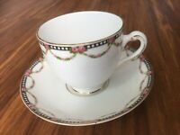 Antique old vintage Tuscan China Tea cup and saucer, (plant pattern), England