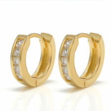 1 Pair Gold Crystal Stainless Steel Ear Hoop Stud Huggies Earrings Jewelry