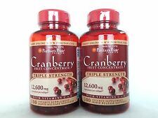 2 Puritan's Pride Triple Strength Cranberry Fruit Concentrate 12,600 mg Value PK
