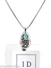 Turquoise Teardrop ID BADGE HOLDER Silver Necklace Lanyard Work School NEW   14