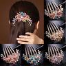 Gorgeous Women Rhinestone Inlaid Flower Hair Comb Hairpin Headwear Accessory AU