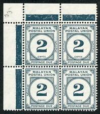 Malayan Postal Union SG D 15 2c Perf 14 U/M Block of 4