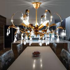 feuilles éclairage plafond lustre verre cristal avec pampilles la vie