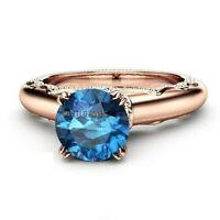 1.58 CT Unique Blue Diamond Estate Engagement Ring 14K Rose Gold Over For Women
