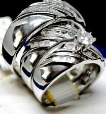 14K White Gold And Diamond Trio Set Wedding /Engagement Ring Men And Ladies.