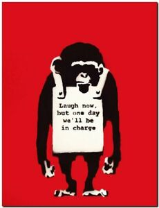 "BANKSY STREET ART CANVAS PRINT Monkey laugh now red 16""X 12"" stencil poster"